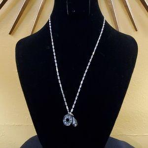 LOFT Silver Rhinestone Pendant Necklace #560